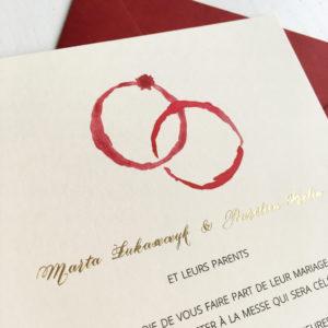 zaproszenia ślubne akwarele ślady wina wino czerwone wino złote zaproszenia