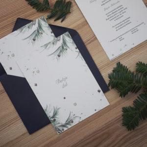 zimowe zaproszenia ślubne leśne akwarele leśny ślub, szyszki, gałązki