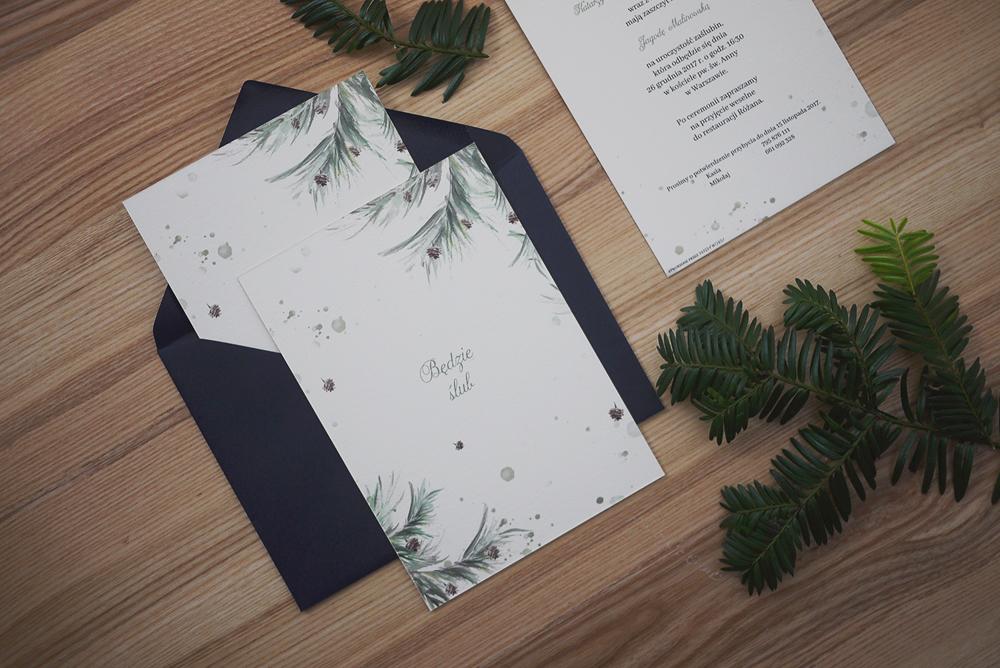 zaproszenia na ślub zima, las, szyszki