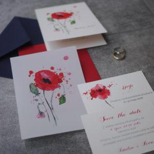 zaproszenia ślubne z makami ręcznie malowane akwarele gdynia maki boho rustykalne