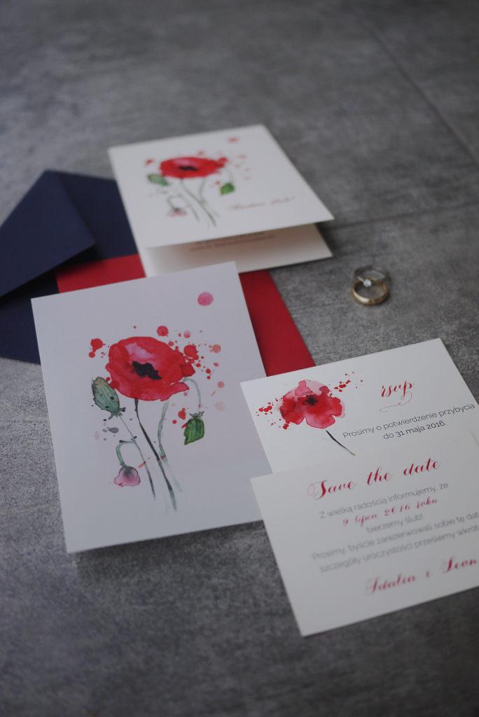 zaproszenia ślubne maki