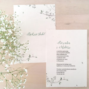 zaproszenie ślubne akwarele gipsówka