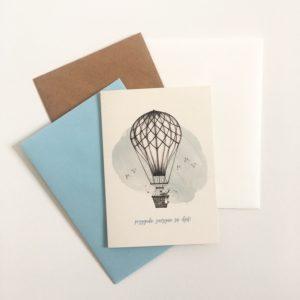 Zaproszenia ślubne dla miłośników podróży/podróżników z balonem powietrznym Gdynia Paperwords