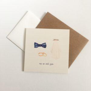 Zaproszenia ślubne z rekwizytami młodej pary akwarele welon mucha obrączki ślub Gdynia Paperwords