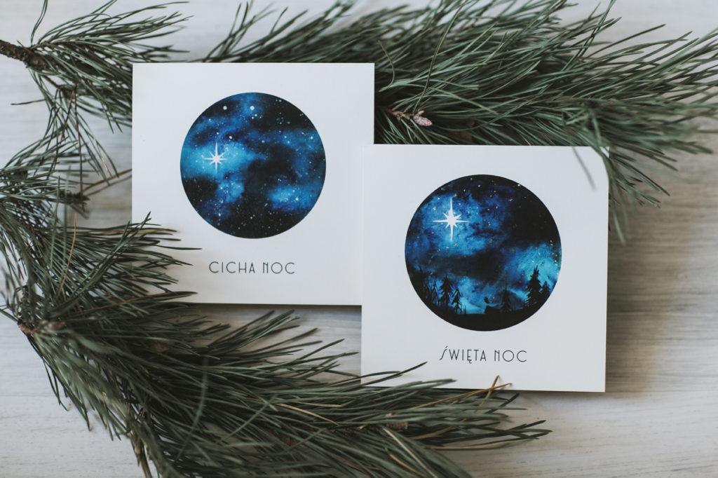 Kartki świąteczne dla firm akwarele