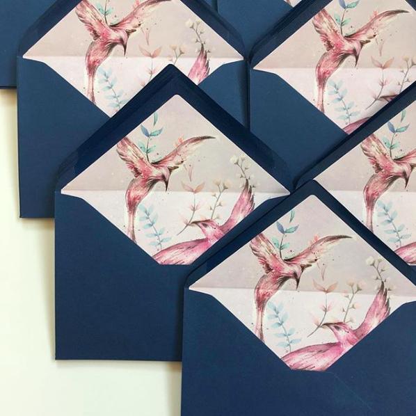 Koperty z wklejką - nadruk wewnątrz koperty - akwarele Gdynia Paperwords