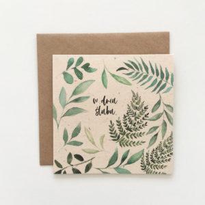 Eko zaproszenia ślubne ekologiczne z liśćmi eukaliptusa akwarela Gdynia Paperwords boho rustykalne