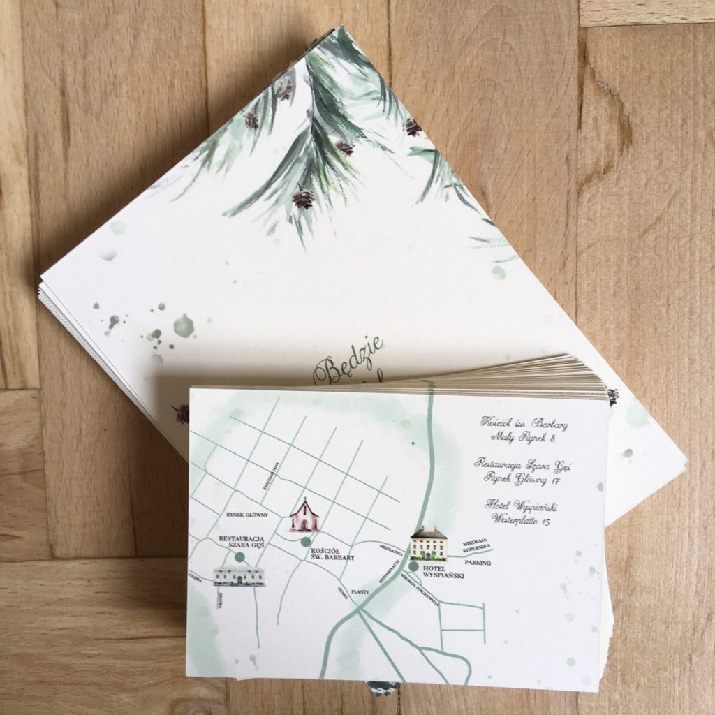 Mapa ślub-wesele leśna zima