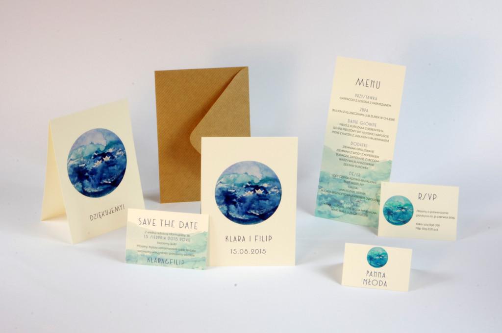 zaproszenia ślubne morze paperwords