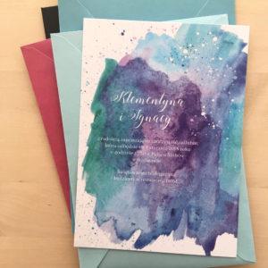 zaproszenia ślubne akwarele Nibylandia abstrakcja fiolet niebieski granat błękit zieleń