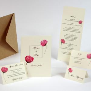 zaproszenia ślubne z piwoniami akwarele paperwords kwiaty różowe peonia