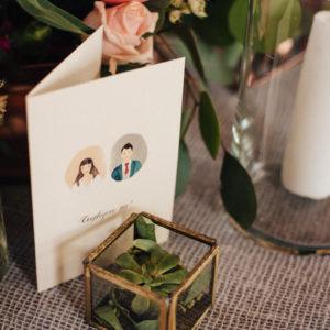 Delikatne zaproszenia z portretem/podobizną młodej pary