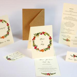 zaproszenia ślubne z wiankiem roślinnym akwarele paperwords wianek zieleń zielone liście gałązki kwiaty rustykalne boho