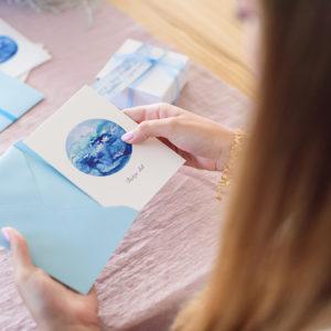 zaproszenia ślubne morskie akwarela ręcznie malowane gdynia paperwords