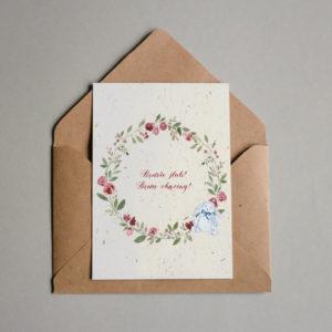 Zaproszenie na ślub i chrzest róże króliczek Paperwords
