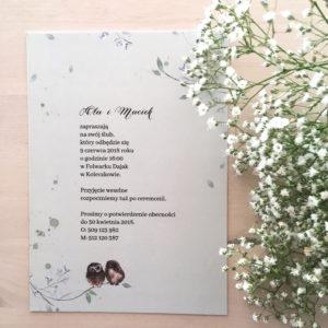 Zaproszenie ślubne akwarele sowy