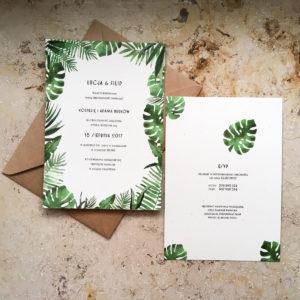 tropikalne zaproszenia ślubne monstera tropikalne liście