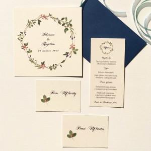 kwiatowe zaproszenia ślubne z kaliną akwarele wiosna jesień wianek czerwony niebieski liście