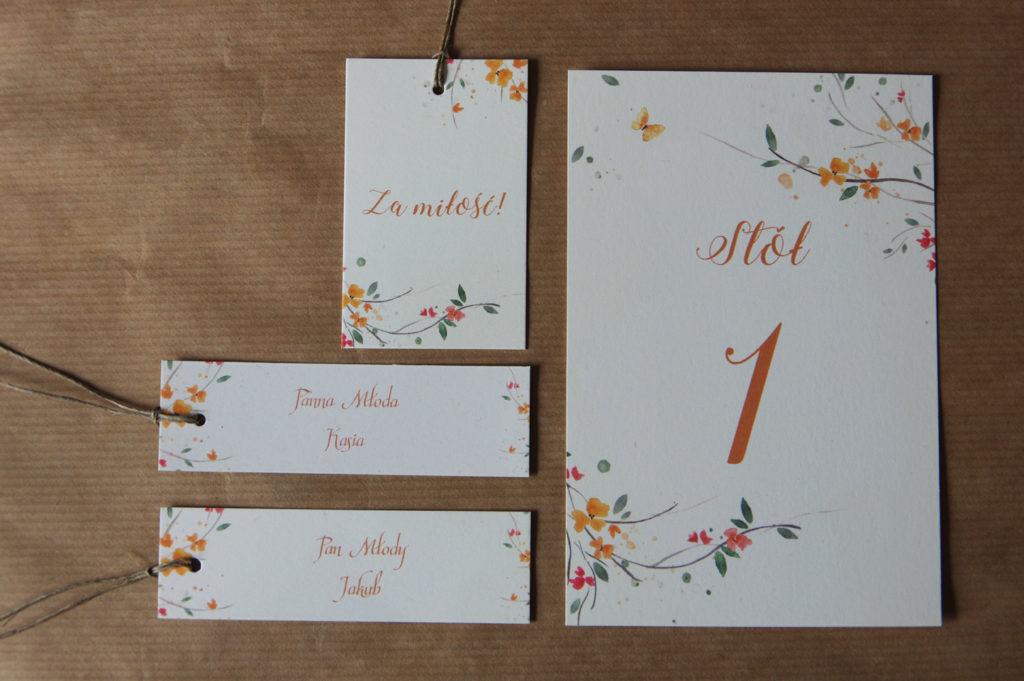 zestaw papeterii weselnej - pomarańczowe kwiaty