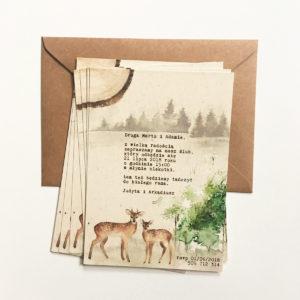 Leśne zaproszenia ślubne z sarenkami Paperwords