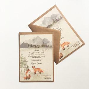 Delikatne leśne górskie zaproszenia ślubne z lisami akwarele Gdynia Paperwords