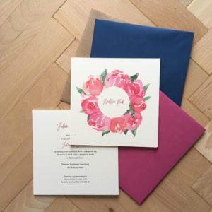 Zaproszenia ślubne piwonia wianek