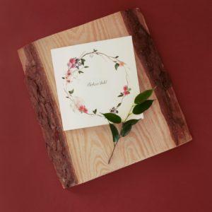Zaproszenia ślubne różowy wianek Paperwords