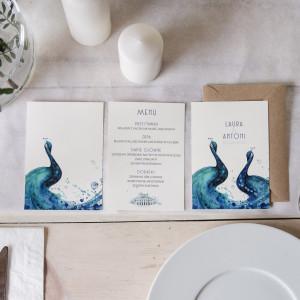 zaproszenia ślubne z pawiami akwarele ptaki niebieski szmaragdowy