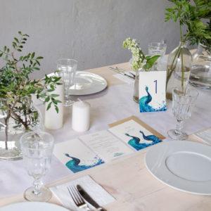 zaproszenia ślubne niebieskie pawie