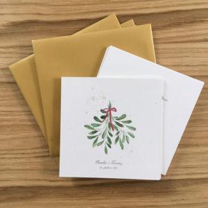 Zimowe zaproszenia ślubne akwarele świąteczne jemioła święta boże narodzenie gałązki zieleń