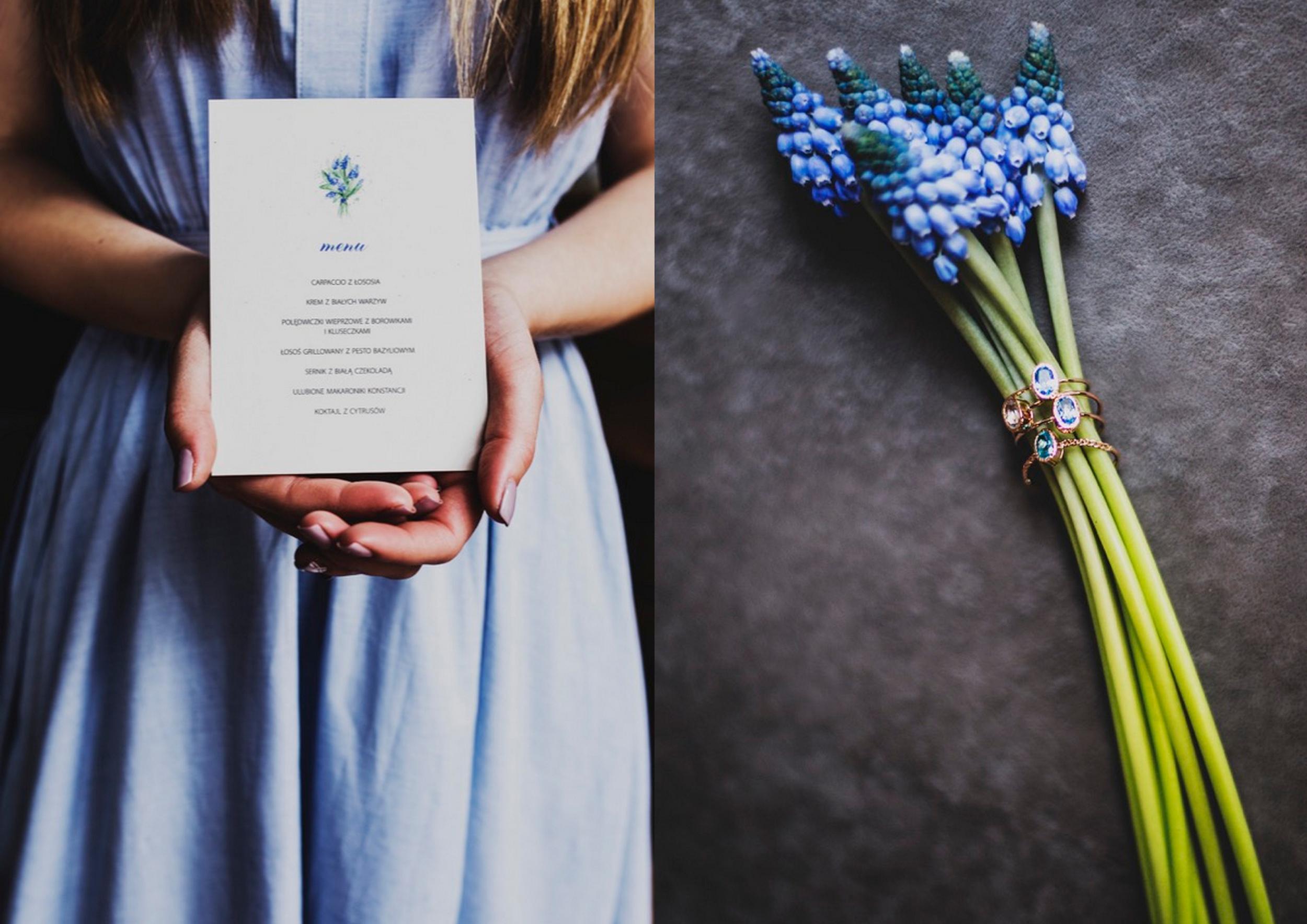 zaproszenia ślubne muscari szafirki