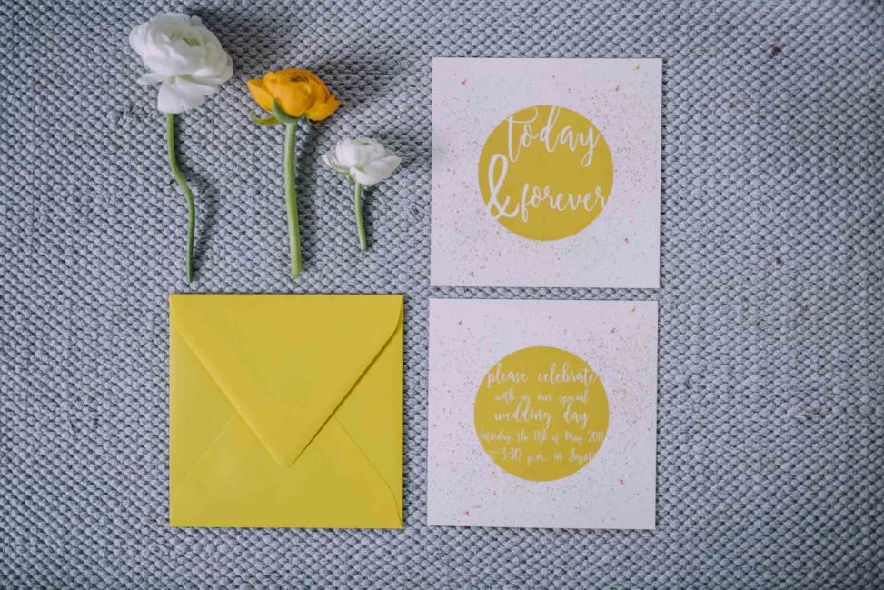 colorful wedding stationery