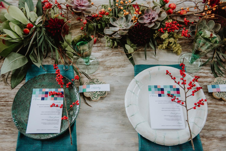 Jesienny ślub zaproszenia pastele turkus