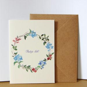 Wianek z hortensji i róży - zaproszenia ślubne akwarela ręcznie malowane Gdynia Paperwords