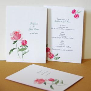 Piwonia peonia - zaproszenia ślubne akwarela ręcznie malowane Gdynia Paperwords