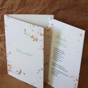 Pomarańczowe kwiaty z motylem - zaproszenia ślubne akwarela Gdynia Paperwords