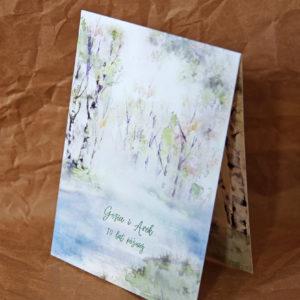 zaproszenia ślubne rzeka las brzozy woda paperwords akwarela