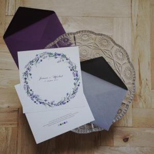 Akwarelowe zaproszenia lawendowe, ręcznie malowane, świetna jakość