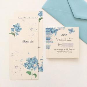 Zaproszenie ślubne z niebieską hortensją i białym kwiatkiem akwarela Gdynia Paperwords