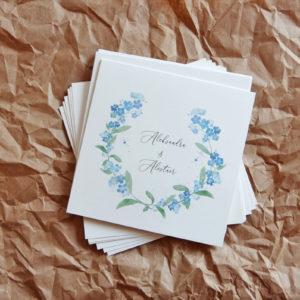 Delikatne zaproszenia ślubne z niezapominajkami akwarele kwiaty Gdynia Paperwords