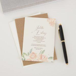 Akwarelowe zaproszenie ślubne z kwiatami koloru brzoskwini, pomarańczowe