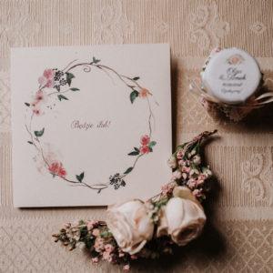 Delikatne zaproszenia ślubne pudrowy róż minimalistyczne akwarelowe Gdynia