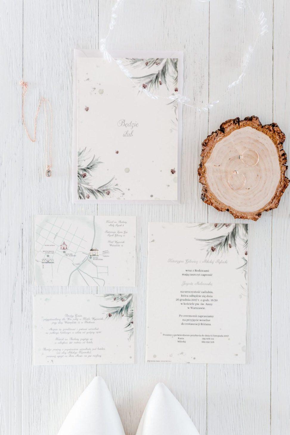 zaproszenie ślubne na zimę zimowe zaproszenie gdynia akwarela
