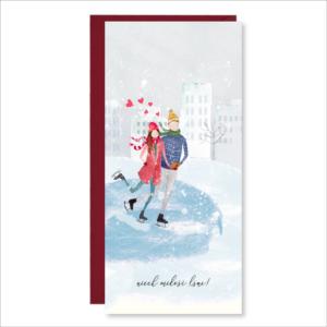 kartka ślubna walentynka życzenia miłość paperwords łyżwiarze