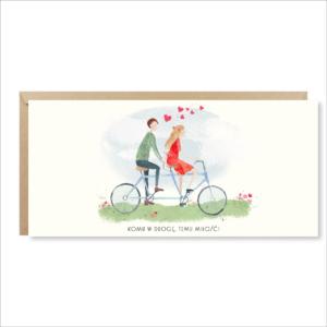 kartka ślubna walentynka życzenia miłość paperwords rowerzyści