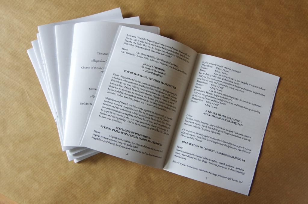 Książeczka plan przebieg ceremonii zaślubin w kilku językach