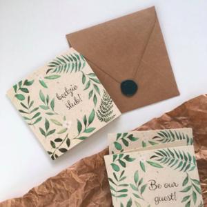 Akwarelowe zaproszenia ślubne - ślub w lesie - zielone liście