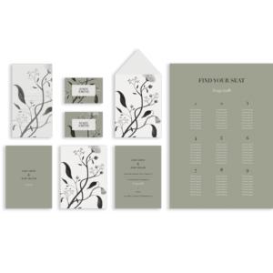 minimalistyczne zaproszenia ślubne - delikatne kwiaty