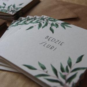 zaproszenia eukaliptusowe otwierane liście boho rustykalne minimalistyczne na ślub gdynia