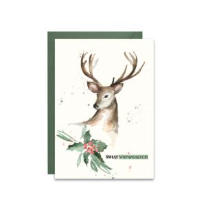 Kartka na święta zimowa ze świątecznym jeleniem